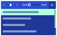 Responsive blue audio player with playlist