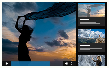 Video gallery with right playlist, large preview thumbnail