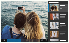 YouToo video gallery with square thumbnail right playlist
