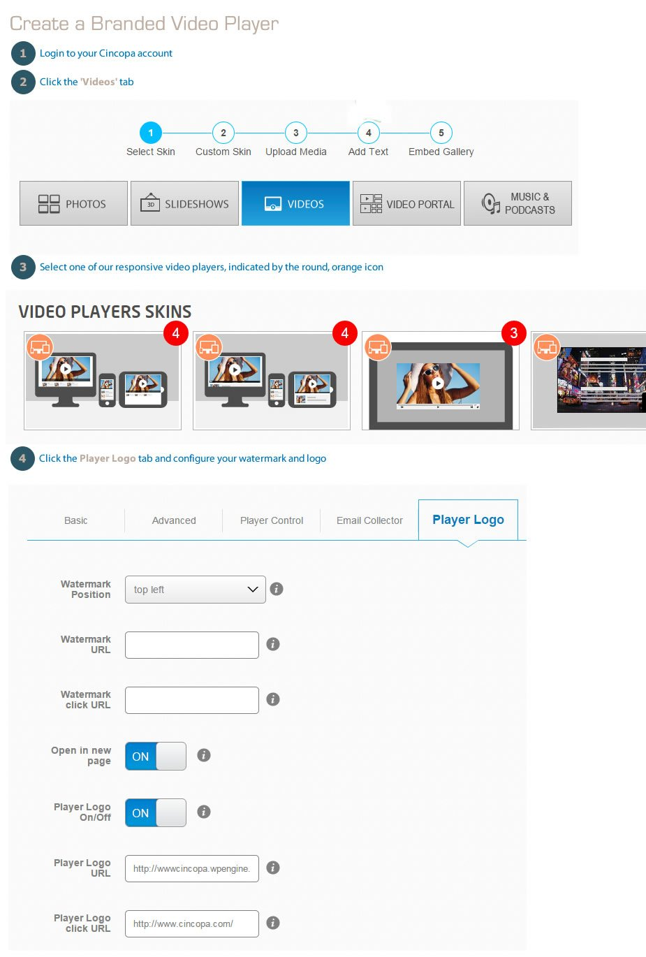 Create branded video players with Cincopa