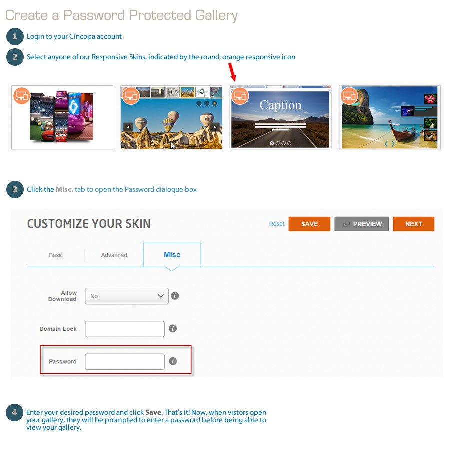 Create a Password Protected Gallery with Cincopa