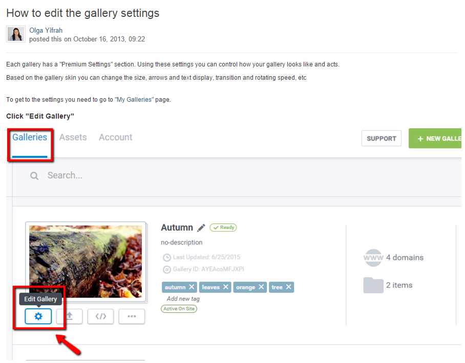 How to edit the gallery settings