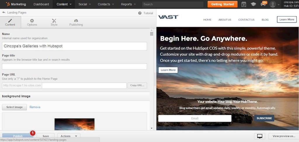 how to create a landing page on hubspot