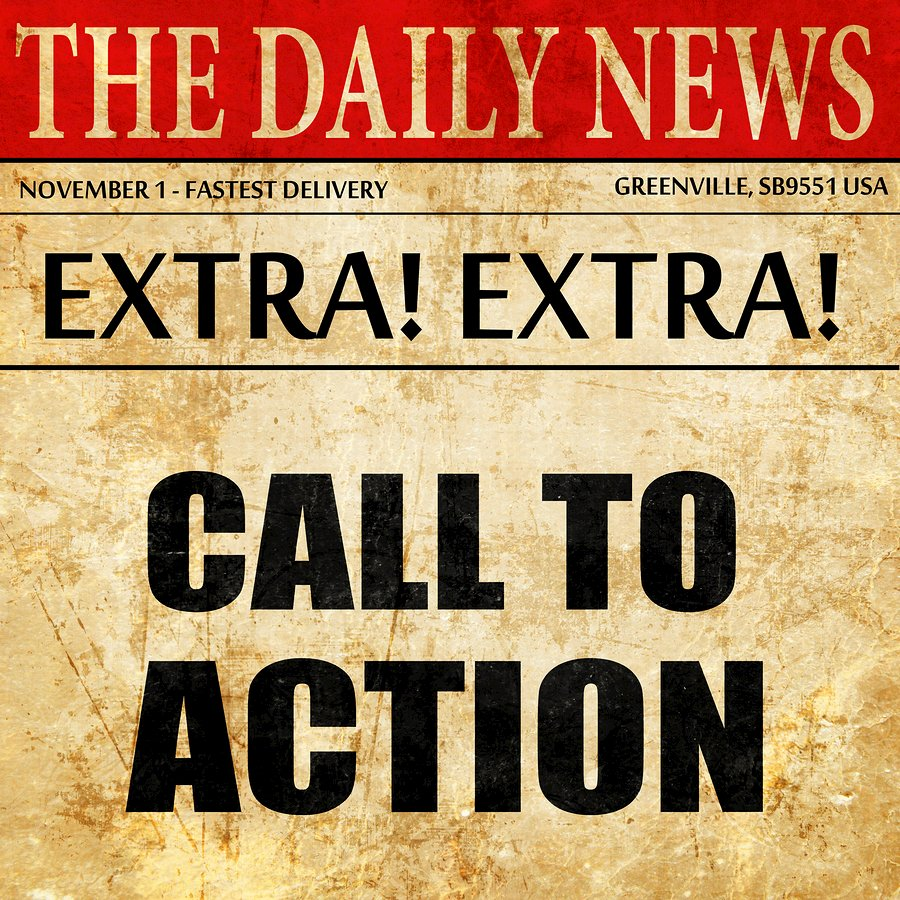 call to action, newspaper article text