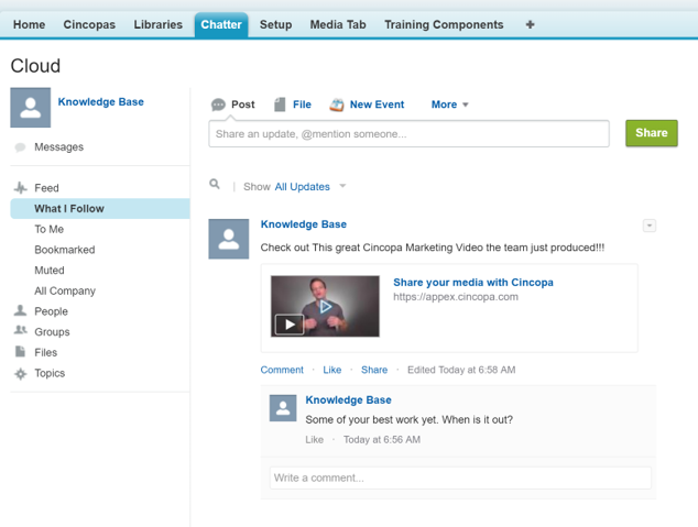 Use Cincopa for Chatter to share videos in chatter