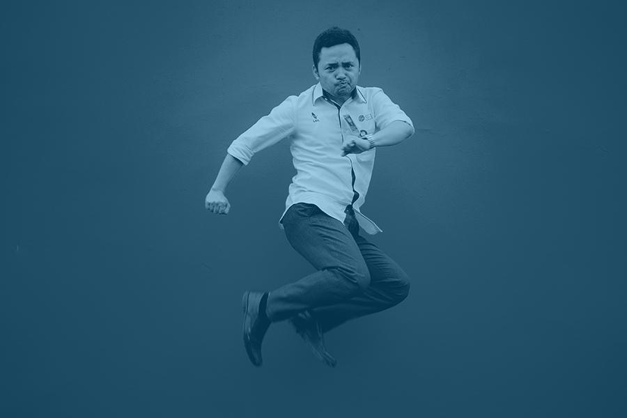 jumping asian man