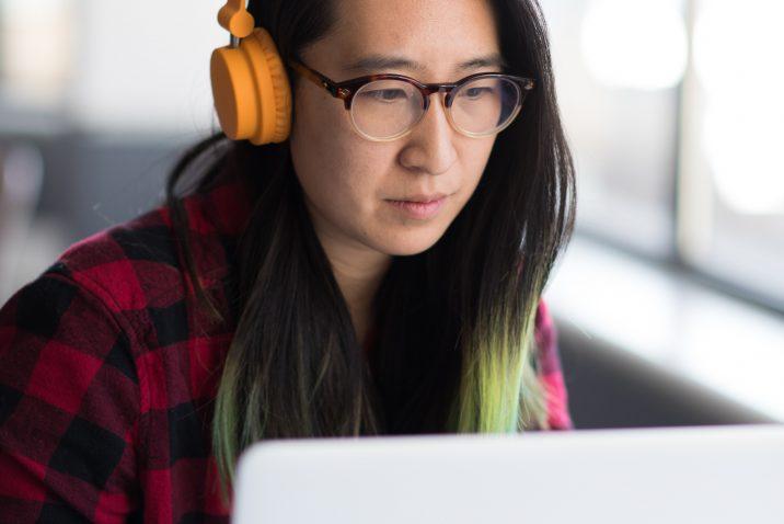 computer asian woman