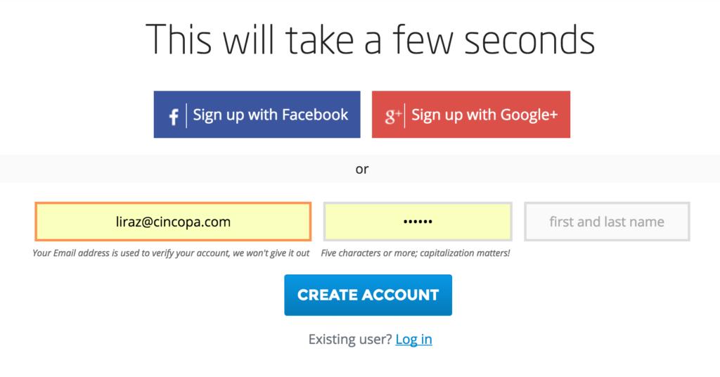 Cincopa Registration Screen