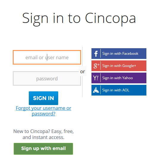 Cincopa Login Screen