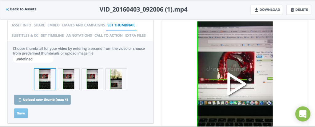 Change, select or upload a new thumbnail for your video