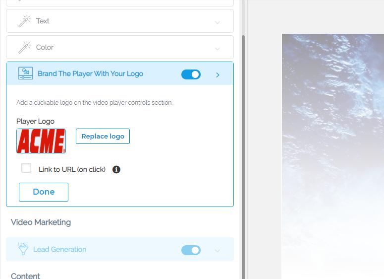 Cincopa Channel Player Logo Customization