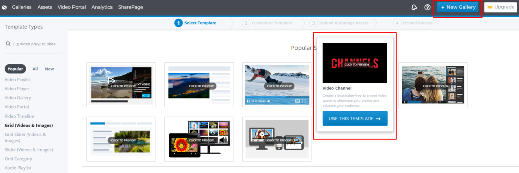 Cincopa Channels Template